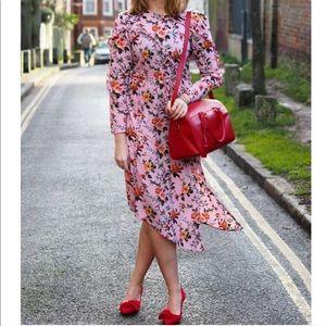 TOPSHOP Pink Floral Ruffle Asymmetrical Midi Dress